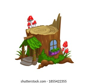 Gnome or dwarf house in old tree stub cartoon vector. Fairytale or folklore creature, forest pixie tiny house with leaves canopy over wooden porch, doors and window, moos and fly agaric mushrooms
