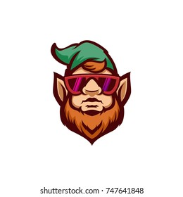 Gnome in glasses modern vector illustration