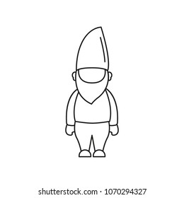 Gnome icon. Outline Gnome vector icon for web design isolated on white background