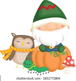 a gnome sitting on top of a pumpkin with an owl and caterpillar