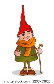 The gnome winks. Sketch. Vector illustration.