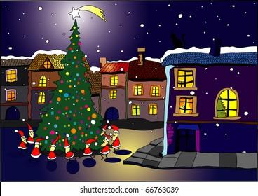 gnomes dancing on festive Christmas tree - christmas card