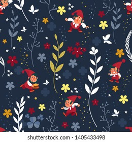 Gnomes seamless pattern. Background dwarf elf character poses magical leprechaun cute fairy tale man vector illustration