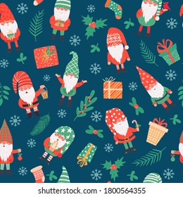 Gnomes seamless pattern. Funny christmas dwarfs and gifts, winter festive print children textile, wrapping paper, wallpaper vector texture. Present boxes, socks and holly berry plant branches
