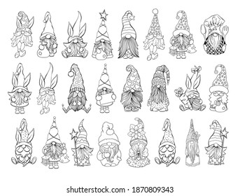 Gnomes Vector Bundle. Collection on Santa hat gnomes, Easter and Valentines Day Gnomies. For adult coloring book and antistress pages. Handdrawn characters set