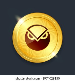 Gnosis crypto currency digital payment system blockchain concept. Cryptocurrency golden coin isolated on dark background. Vector illustration