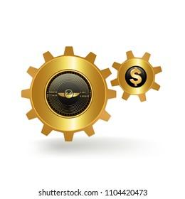 Gnosis Cryptocurrency Coin Dollar Fiat Exchange Gold Cogwheel Mechanism