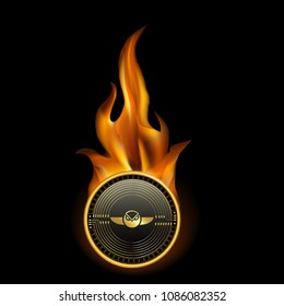 Gnosis Cryptocurrency Coin On Fire Background
