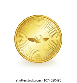 Gnosis Cryptocurrency Gold Coin Isolated