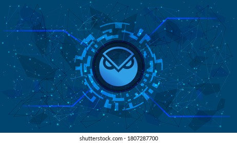 Gnosis GNO token symbol of the DeFi project in a digital circle with a cryptocurrency theme on a blue background. Cryptocurrency icon. Decentralized finance programs. Copy space. Vector EPS10.