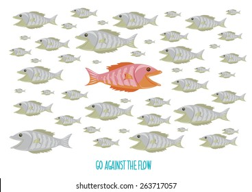 Go Against the Flow concept and text. An orange fish swims against the usual school of fish. Editable ESP10 vector and large jpg.