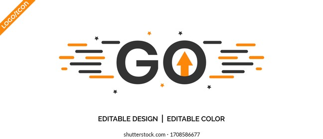 Go / Go Ahead latter tag icon Design. promotion icon, best deal symbol, Speech bubble banner,  Go Ahead stamp uses Yellow and black color, Vector illustration