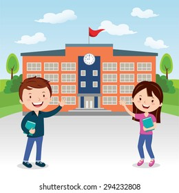 Go to college. Vector illustration of college students going to college or university.