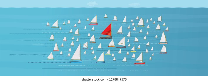 Go with the Flow, Boat with Red Sail in the Middle of a crowded Fleet of Small Sailboats, Going along with the Crowd, Safety in Numbers, Nautical, Direction, Go with the Flow Concept, Same Direction,
