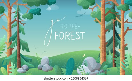 Go to the forest. Vector horizontal background. There are pine and fir on green hills. Stones and grass are in foreground. Clouds, birds and butterflies in the sky. Flat background with noise texture.