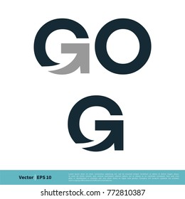 Go and G Letter Icon Vector Logo Template