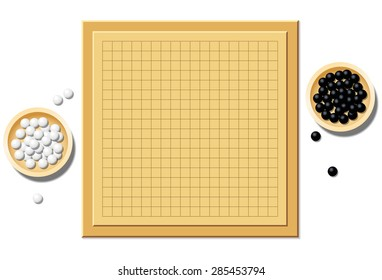 Go game with two wooden bowls filled with black and white stones - empty board, start of play. Isolated vector illustration on white background.