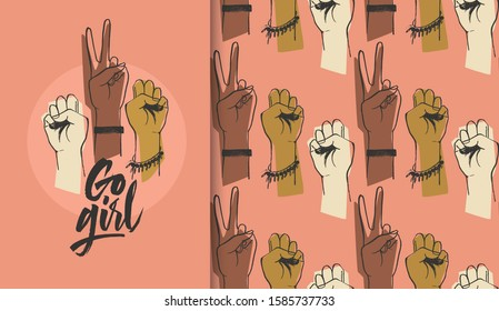 Go girl illustration with raised women hands, seamless pattern and lettering