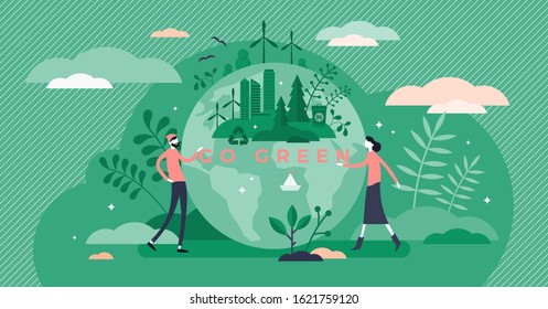 Go green call for global sustainable development and healthy planet environment, flat tiny persons concept vector illustration. Ecology, recycling and renewable energy social and business movements.