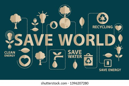 Go Green campaign. Ecology concept. save world vector illustration.