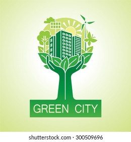 Go green city logo. Ecology concept. Hands hold the city. Vector illustration.