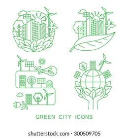 Go green city logo. Ecology concept. Linear style. Vector illustration.