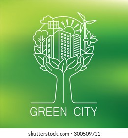Go green city logo. Ecology concept. Hands hold the city.  Linear style. Vector illustration.
