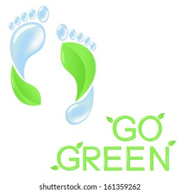Go green concept with human footprints of leaves and pure water
