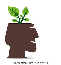 go green concept, plant in human head concept vector