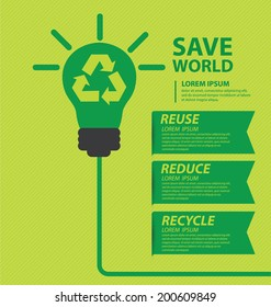 Go green concept. Save world vector Illustration.