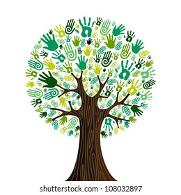 Go green crowd human hands icons in isolated tree composition. Vector file layered for easy manipulation and custom coloring