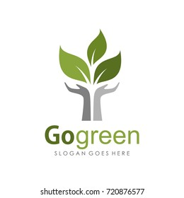 Go green and Earth day logo illustration design template