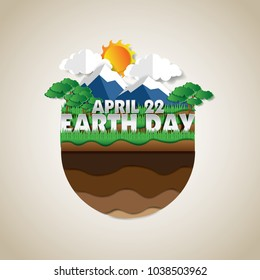 go green earth day poster illustration, paper art design