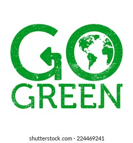 Go green earth logo, grunge, vector illustration