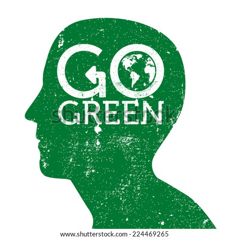 Go Green Earth Logo On Head Stock Vector Royalty Free 224469265