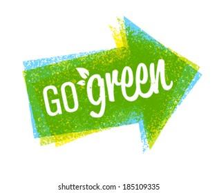 Go green eco grunge arrow creative vector design element