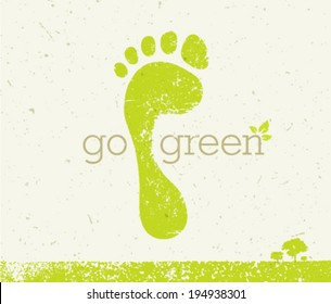 Go Green Eco Poster. Vector Creative Organic Illustration On Paper Background.