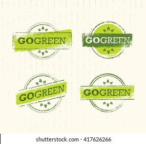 Go Green Eco Stamp Concept On Cardboard Background. Raw Set Of Insignia. Vector Creative Organic Illustration.