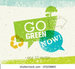 Go Green Eco Tree Organic Vector Composition on Paper Background