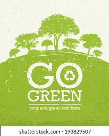 Go Green Eco Tree Recycling Concept on Organic Paper Background