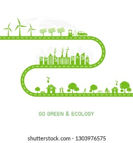 Go green and Ecology concept with green city on road, World environment and sustainable development concept, vector illustration