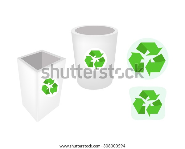 Go Green, Illustration of Recycle Bins or Garbage Cans with Recycle Icons for Save The Earth Concept.