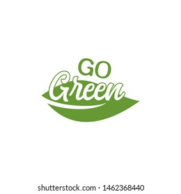 go green leaf symbol logo design