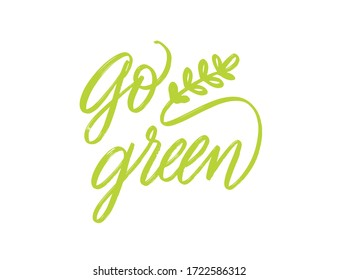 Go green lettering for concept design. Vector logo. Eco friendly concept. Green living Concept design. Vegan icon vector. Vector graphic design. Go green lettering, great design for any purposes.