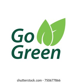 Go Green Logo, Vegan Logo Icon, vegetarian, healthy food, label, vector EPS 10