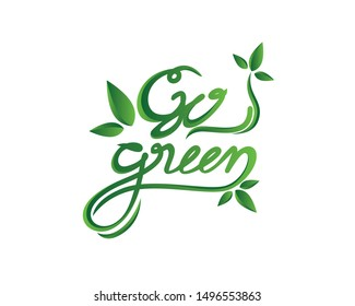 Go Green Logotype Combined with Tendrils and Leaves