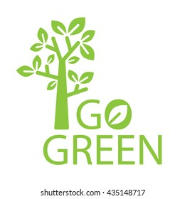 Go Green logotype with a tree icon and typographic. Vector illustration.