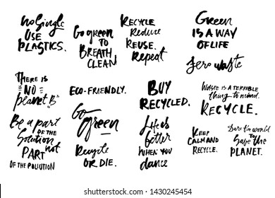 Go green. No single use plastics. Zero waste lettering quotes set. Hand lettering illustration for your design