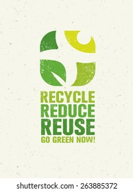 Go Green Recycle Reduce Reuse. Sustainable Eco Vector Concept on Recycled Paper Background.