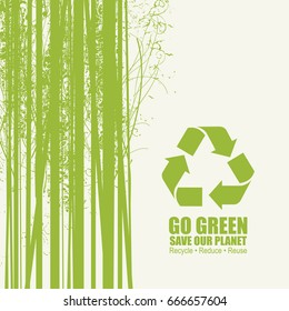 Go Green Recycle Reduce Reuse Eco Poster Concept. Vector Creative Organic illustration on paper background. Save our planet